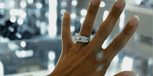 diamond ring on woman's hand