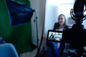 actress being filmed