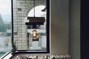 light fixture with books