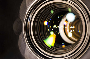 camera lens with lense reflections