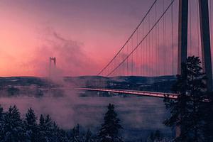 bridge with pink sky